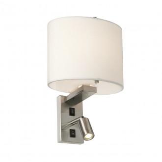 ELSTEAD BELMONT/2W | Belmont Elstead falikar lámpa két kapcsoló 1x E14 + 1x LED 120lm szatén nikkel, fehér