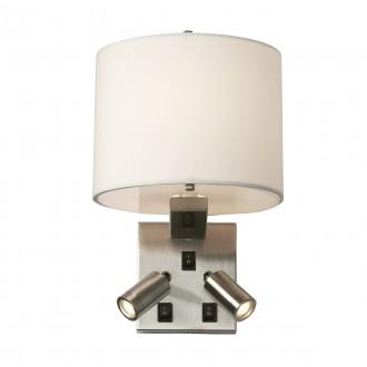 ELSTEAD BELMONT/3W | Belmont Elstead falikar lámpa három kapcsoló 1x E14 + 2x LED 240lm szatén nikkel, fehér