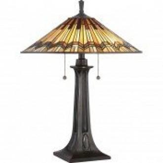 ELSTEAD QZ/ALCOTT/TL | Alcott Elstead asztali lámpa 63,5cm kapcsoló 2x E27 bronzbarna, többszínű