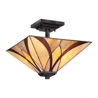 ELSTEAD QZ/ASHEVILLE/SF | Asheville Elstead mennyezeti lámpa 2x E27 bronzbarna, többszínű