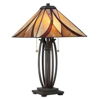 ELSTEAD QZ/ASHEVILLE/TL | Asheville Elstead asztali lámpa 63,5cm 2x húzókapcsoló 2x E27 bronzbarna, többszínű