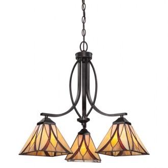 ELSTEAD QZ/ASHEVILLE3 | Asheville Elstead csillár lámpa 3x E27 bronzbarna, többszínű