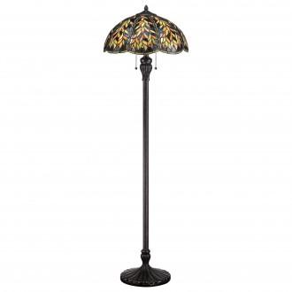 ELSTEAD QZ-BELLE-FL | Belle Elstead álló lámpa 148,6cm vezeték kapcsoló kézzel készült 2x E27 bronzbarna, többszínű