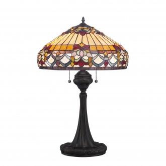 ELSTEAD QZ-BELLE-FLEUR-TL | Belle-Fleur Elstead asztali lámpa 68,6cm vezeték kapcsoló kézzel készült 2x E27 bronzbarna, többszínű