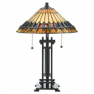 ELSTEAD QZ-CHASTAIN-TL | Chastain Elstead asztali lámpa 57,2cm 2x húzókapcsoló kézzel készült 2x E27 bronzbarna, többszínű