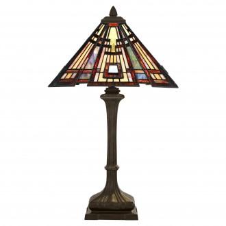ELSTEAD QZ-CLASSIC-CRAFT-TL | Classic-Craftsman Elstead asztali lámpa 73,7cm kapcsoló 2x E27 bronzbarna, többszínű