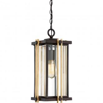ELSTEAD QZ-GOLDENROD8-M | Goldenrod Elstead függeszték lámpa 1x E27 Ip23 bronz, arany, átlátszó