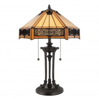 ELSTEAD QZ-INDUS-TL   Indus-EL Elstead asztali lámpa 58,4cm 2x húzókapcsoló 2x E27 bronzbarna, többszínű
