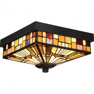 ELSTEAD QZ-INGLENOOK-F | Inglenook Elstead mennyezeti lámpa kézzel készült 2x E27 IP44 bronzbarna, többszínű