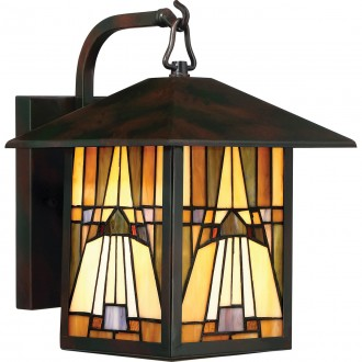 ELSTEAD QZ-INGLENOOK2-M | Inglenook Elstead falikar lámpa kézzel készült 1x E27 IP44 bronzbarna, többszínű