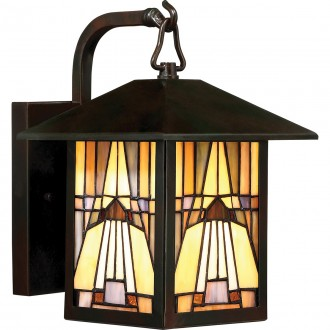 ELSTEAD QZ-INGLENOOK2-S | Inglenook Elstead falikar lámpa kézzel készült 1x E27 IP44 bronzbarna, többszínű