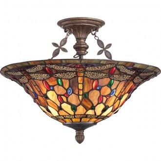 ELSTEAD QZ/JDRAGONFLY/SF | Jewelled-Dragonfly Elstead mennyezeti lámpa 3x E27 antikolt bronz, többszínű