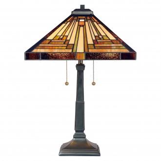 ELSTEAD QZ/STEPHEN/TL | Stephen Elstead asztali lámpa 58,4cm vezeték kapcsoló kézzel készült 2x E27 bronzbarna, többszínű