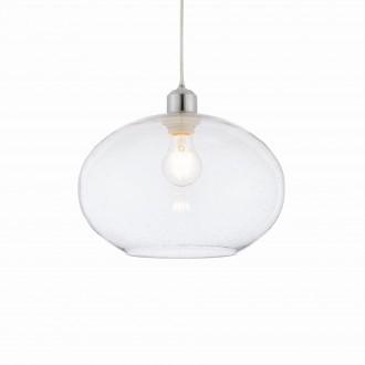 ENDON 73974 | Dimitri Endon függeszték lámpa vezeték nélküli 1x E27 króm, átlátszó, buborékos hatás