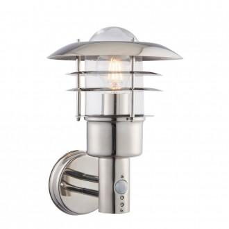 ENDON 74702 | Dexter-EN Endon falikar lámpa mozgásérzékelő 1x E27 IP44 nemesacél, rozsdamentes acél, átlátszó
