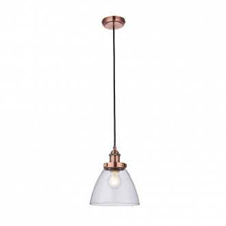 ENDON 76332 | Hansen Endon függeszték lámpa állítható magasság 1x E27 antik vörösréz, átlátszó