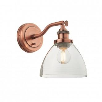 ENDON 76334 | Hansen Endon falikar lámpa kapcsoló 1x E14 antik vörösréz, átlátszó