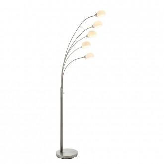 ENDON 76568 | Jaspa Endon álló lámpa 180cm fényerőszabályzós kapcsoló 5x LED 2100lm 3000K szatén nikkel, fehér