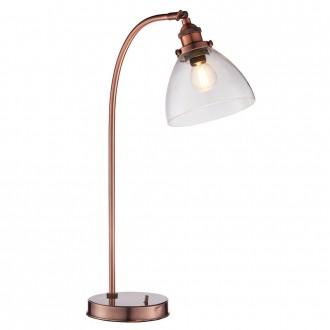 ENDON 77861 | Hansen Endon asztali lámpa 53,3cm vezeték kapcsoló 1x E14 antik vörösréz, átlátszó