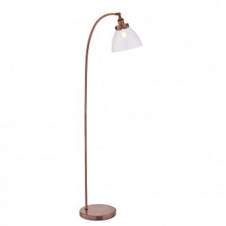 ENDON 77862 | Hansen Endon álló lámpa 152cm taposókapcsoló 1x E27 antik vörösréz, átlátszó