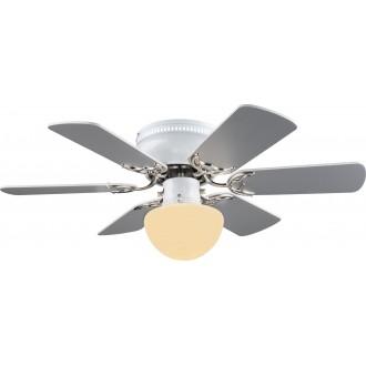 GLOBO 03070 | Formentera Globo mennyezeti ventilátoros lámpa húzókapcsoló 1x E27 matt nikkel, szürke, fehér