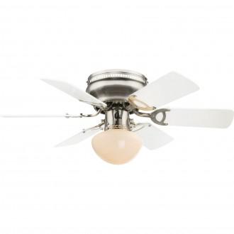 GLOBO 0307W | Ugo Globo mennyezeti ventilátoros lámpa húzókapcsoló 1x E27 matt nikkel, grafit, fehér