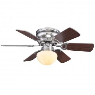 GLOBO 0307WE | Ugo Globo mennyezeti ventilátoros lámpa húzókapcsoló 1x E27 matt nikkel, wenge, szürke