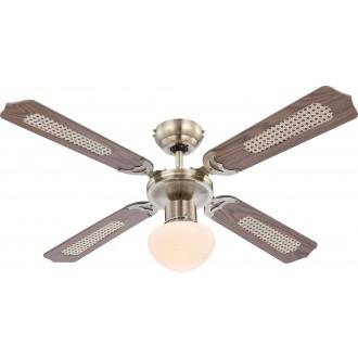 GLOBO 0309 | Champion Globo mennyezeti ventilátoros lámpa húzókapcsoló 1x E27 antikolt réz, tölgy, nád