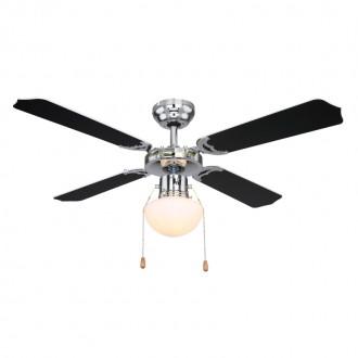 GLOBO 0309CSW | Champion Globo mennyezeti ventilátoros lámpa húzókapcsoló 1x E27 króm, fekete, fehér