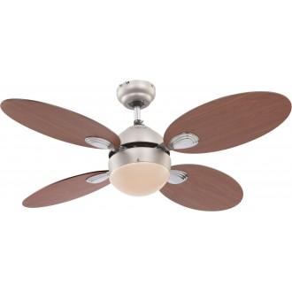 GLOBO 0318 | Wade Globo mennyezeti ventilátoros lámpa húzókapcsoló 1x E14 matt nikkel, cseresznye, dió