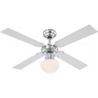 GLOBO 0330 | Champion Globo mennyezeti ventilátoros lámpa húzókapcsoló 1x E27 króm, fehér, opál