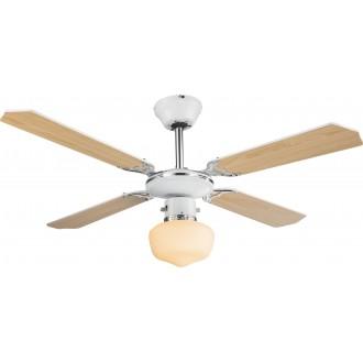GLOBO 03300 | Sargantana Globo mennyezeti ventilátoros lámpa húzókapcsoló 1x E27 króm, fehér, opál