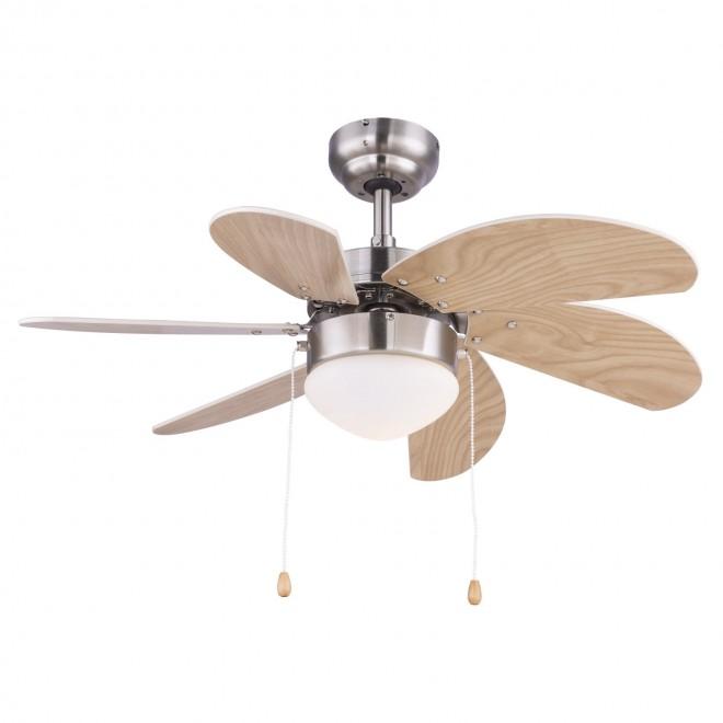 GLOBO 03301 | Rivaldo Globo mennyezeti ventilátoros lámpa húzókapcsoló 1x E14 matt nikkel, bükk, bézs