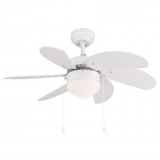 GLOBO 03302 | Rivaldo Globo mennyezeti ventilátoros lámpa húzókapcsoló 1x E14 fehér