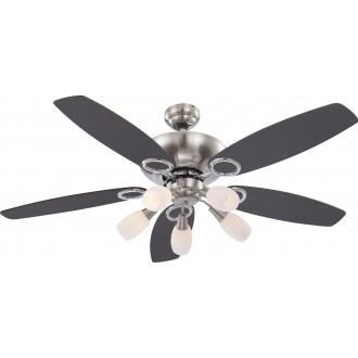 GLOBO 0337 | Jerry Globo mennyezeti ventilátoros lámpa húzókapcsoló 5x E14 matt nikkel, króm, grafit