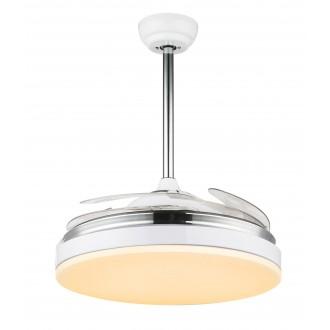 GLOBO 0351 | Cabrera Globo mennyezeti ventilátoros lámpa távirányító állítható színhőmérséklet, elforgatható alkatrészek 1x LED 3600lm 3000 - 4000 - 6000K króm, fehér, áttetsző