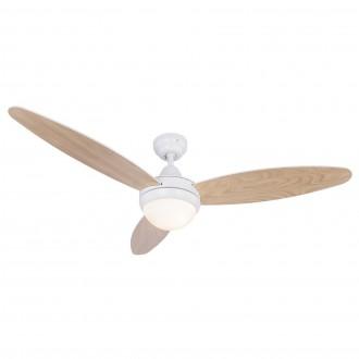 GLOBO 03612 | Cordula Globo mennyezeti ventilátoros lámpa távirányító 2x E14 fehér, bükk