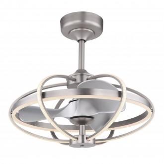 GLOBO 03613   Simona-GL Globo ventilátoros lámpa mennyezeti távirányító szabályozható fényerő, állítható színhőmérséklet, időkapcsoló, éjjelifény 1x LED 3250lm 3000 <-> 6000K matt nikkel, ezüst, opál