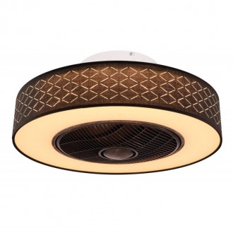 GLOBO 03621   Rosario Globo ventilátoros lámpa mennyezeti távirányító időkapcsoló 1x LED 1400lm 3000K fekete, opál, antikolt fekete