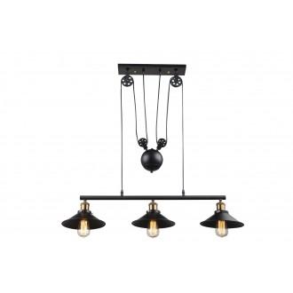 GLOBO 15053-3 | Lenius Globo függeszték lámpa ellensúlyos, állítható magasság 3x E27 metál fekete, antikolt réz
