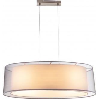 GLOBO 15190H2 | Theo Globo függeszték lámpa 3x E27 matt nikkel, fehér, fehér
