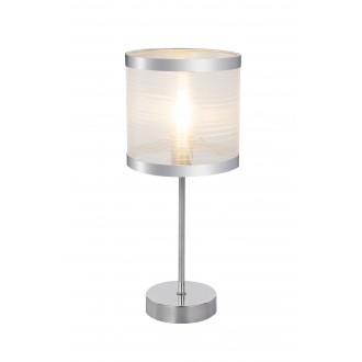 GLOBO 15259T | Naxosg Globo asztali lámpa 37cm kapcsoló 1x E14 króm, fehér