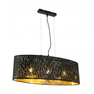 GLOBO 15264H2 | Tuxon-Tarok Globo függeszték lámpa 3x E27 metál fekete, arany