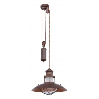 GLOBO 15355Z | Badalona-GL Globo függeszték lámpa állítható magasság 1x E27 barna, átlátszó