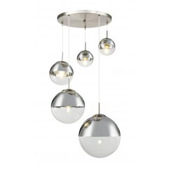 GLOBO 15851-5 | Varus Globo függeszték lámpa 3x E27 + 2x E27 króm, matt nikkel, átlátszó