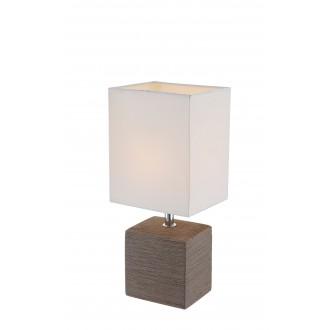 GLOBO 21677 | Geri Globo asztali lámpa 29cm kapcsoló 1x E14 króm, barna, fehér