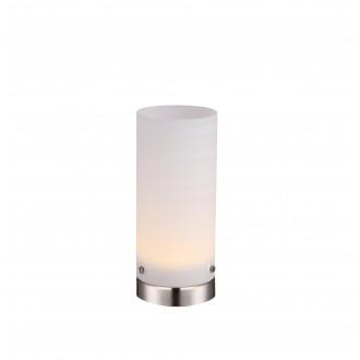 GLOBO 21926 | Cyli Globo asztali lámpa 20cm kapcsoló 1x LED 400lm 3000K matt nikkel, fehér