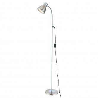 GLOBO 24778 | Ego Globo álló lámpa 146cm vezeték kapcsoló flexibilis 1x E27 matt nikkel, króm