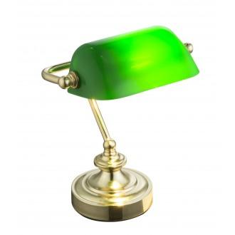 GLOBO 24917 | Antique Globo asztali lámpa 24cm vezeték kapcsoló 1x E14 sárgaréz, zöld
