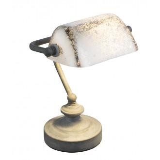 GLOBO 24917R | Antique Globo asztali lámpa 24cm vezeték kapcsoló 1x E14 rozsdabarna, antikolt arany